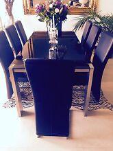 Fabulous 8 Leather Seater Black Glass Formal Dining Table Peakhurst Hurstville Area Preview