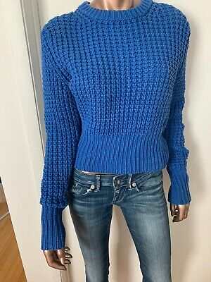 Acne 'Lina Pineapple' Blue Chunky Open Jumper Knit Sweater Size Medium