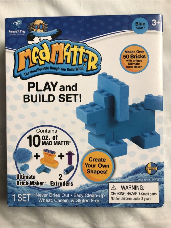 Mad Mattr Blue Play And Build Set, Ultimate Brick Maker, Never Dries Out, 3+ New