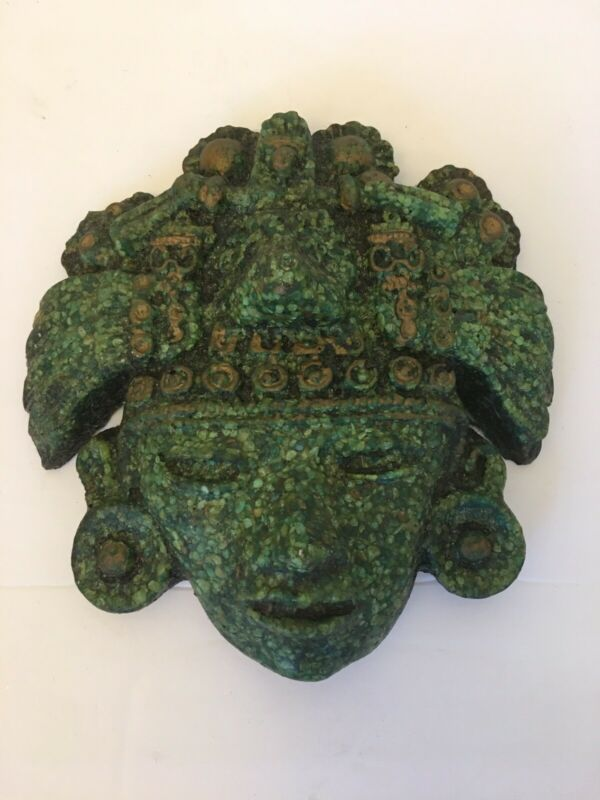 Aztec Mayan Wall Face Head Mask Mexican Crushed Malachite Folk Art