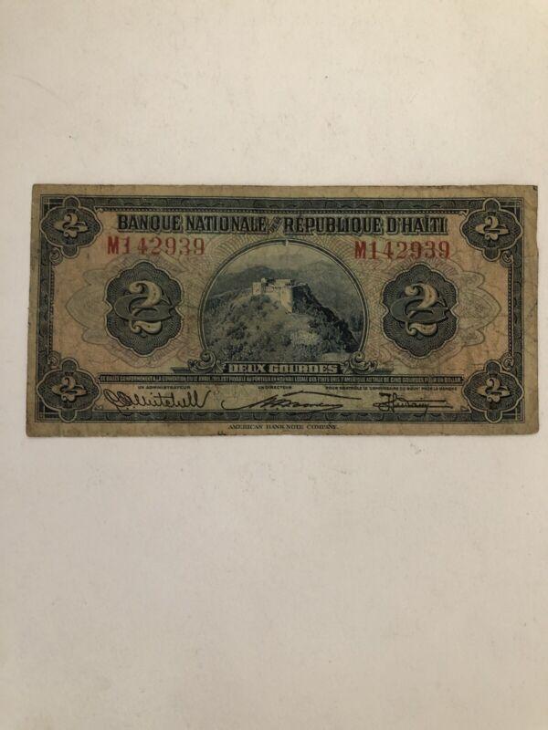 Haiti 2 Gourdes 1925-1932 P-161 Circulated Rare Signature