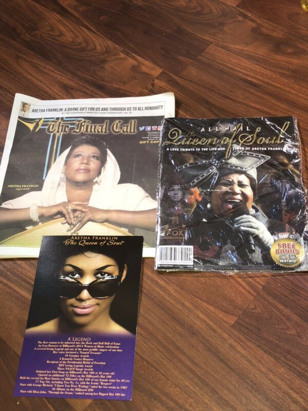 Aretha Louise Franklin Queen Of Soul Funeral Card Final Call All Hail Tribute CD
