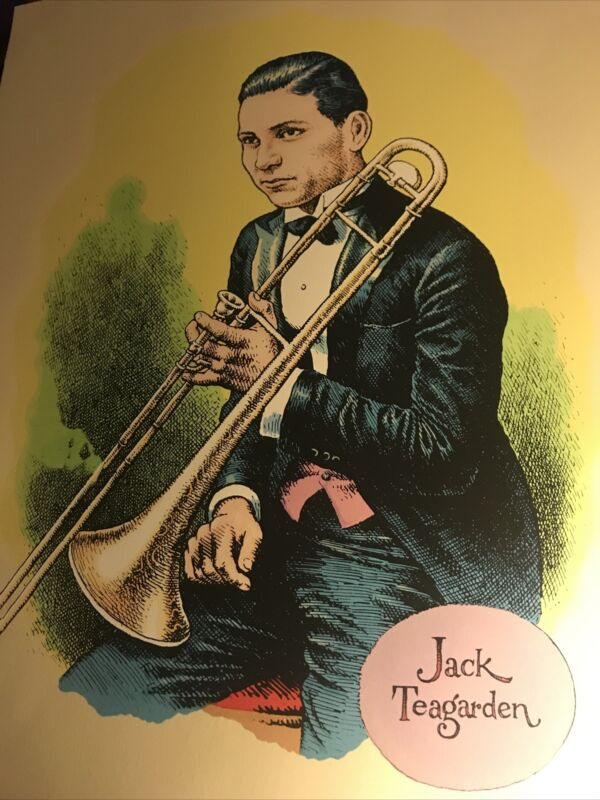 SERIGRAPH SILKSCREEN PORTRAIT OF JACK TEAGARDEN BY R. CRUMB