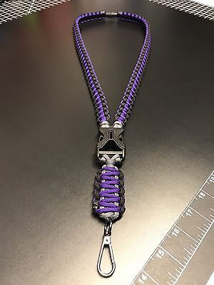 Custom paracord neck ID lanyard W/ OPTIONS (Pick 3 Colors and Hardware) The BEST