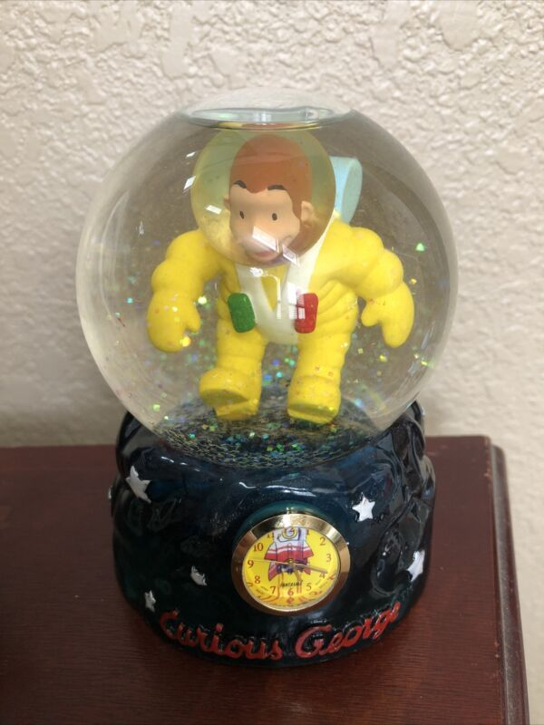Vintage Curious George Astronaut Snow Globe And Clock 5 Inches Tall