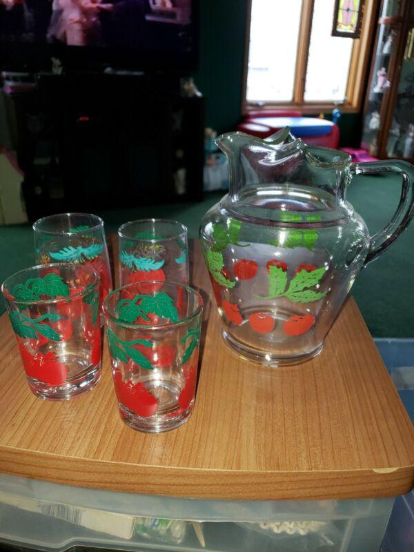 Vintage Tomato Print Glass Pitcher & 4 Cups
