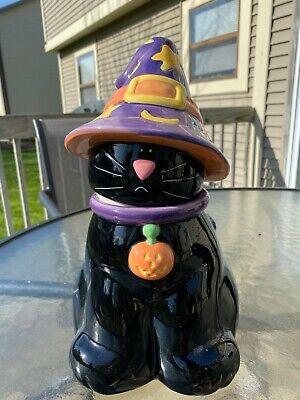 Harry & David Halloween Ceramic Cat Cookie Jar w/ Witches Hat