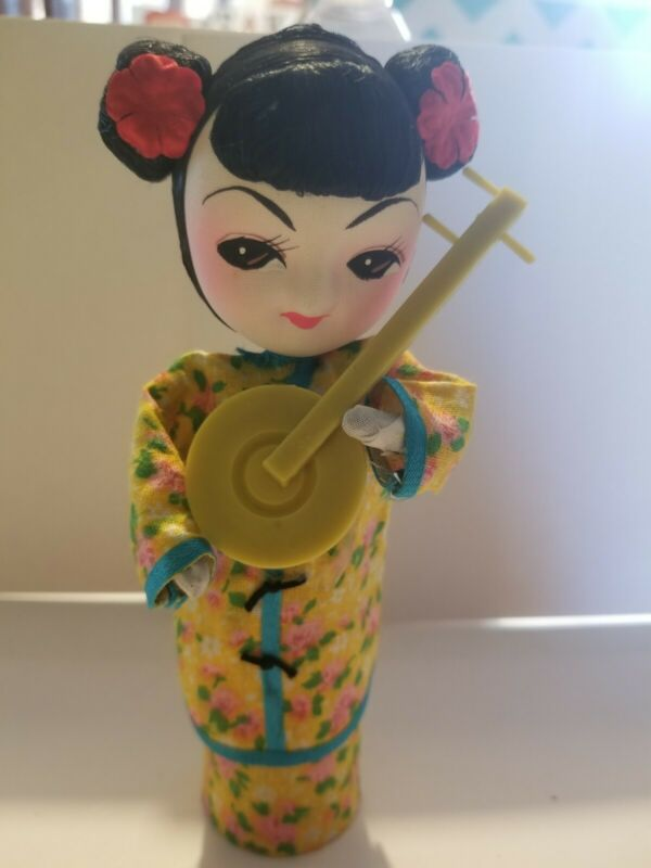 """Vintage Asian Doll Cylinder Body Taiwan Republic of China 7"""""""