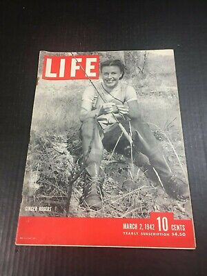 Life Magazine March 2 1942 Ginger Rogers WWII Advertisements Vintage