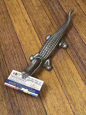 Vintage Metal Crocodile Business Card Envelope Holder Alligator
