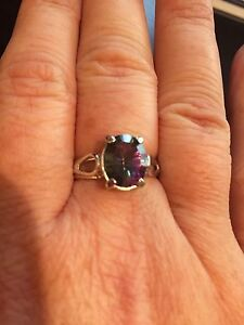 14K White Gold and Caribbean Topaz Ring and Pendant St. John's Newfoundland image 2
