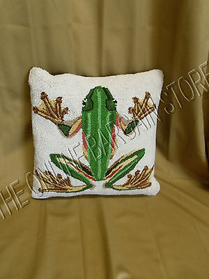 Grandinroad Frog Reptile Indoor Sofa Chair Wool Decorative Throw Pillow 18