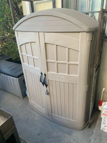 "STEP 2 OUTDOOR PLASTIC STORAGE CABINET 68"" TALL 48"" WIDE 24"" DEEP"