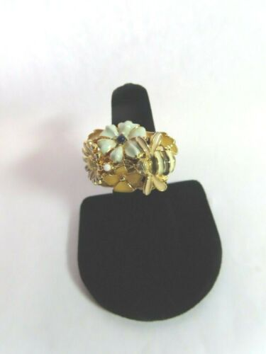 Kenneth Lane Enamel Flower And Bee Ring SZ 5