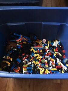 Tub of LEGO and MEGA BLOKS.
