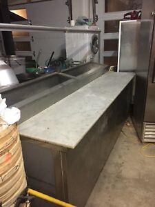Refrigerated  Pizza prep table stainless steel doors