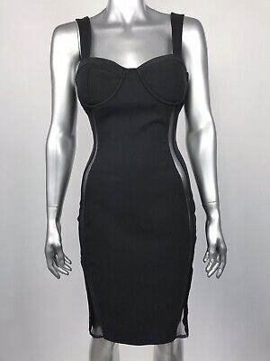 QUII Exquisite Collection Cocktail Dress Black Sheer Side Panel Cutout -