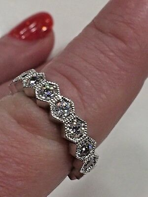 Lovely 925 Sterling Silver CZ Eternity Band Ring Size 8