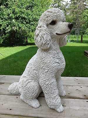 POODLE Dog Figurine Resin Animal Statue New Lawn Ornament White Puppy Gift