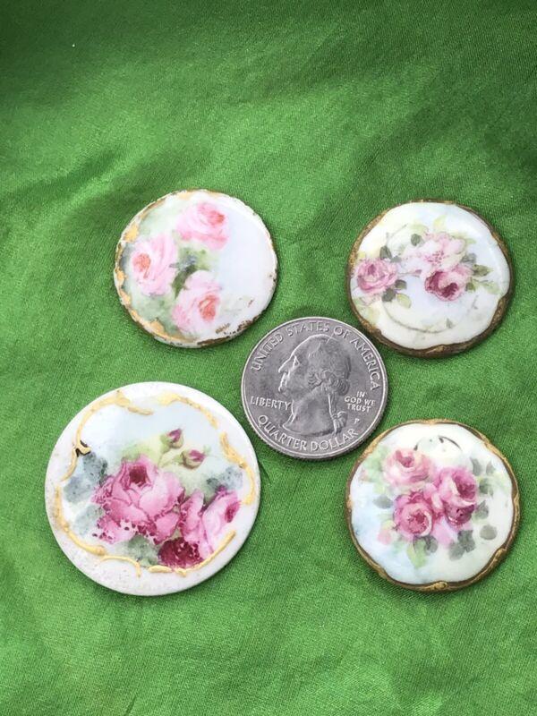 Vintage Porcelain Painted Floral Gold Accent 4 Button Disk Friendship Jewelry