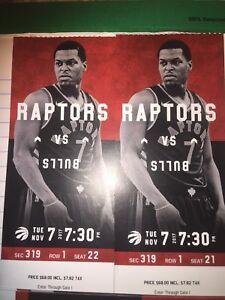 Raptors vs Bulls tonight $50 each row 1 Balcony