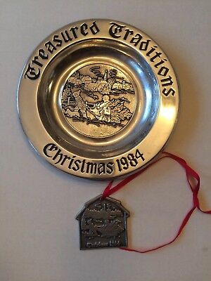 "(1984  Wilton Armetale Plate Christmas ""Treasured. Tradition '9/14 With Ornament)"