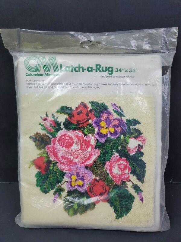Vintage 1977 Latch A Rug Victorian Roses  Columbia Minerva 34 X 34