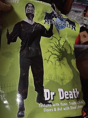 Mens  Fancy Dress  Dr Death Doctor Costume large And Meat Cleaver Fake Blood