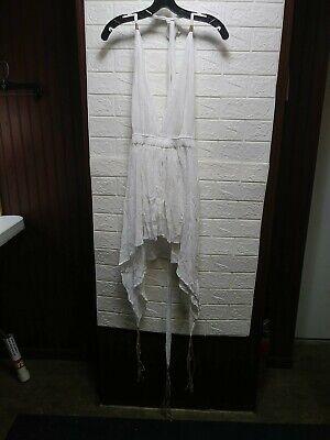 Caravana Womens Short Tsikbal Cotton VNeck Haulter Dress Flare White