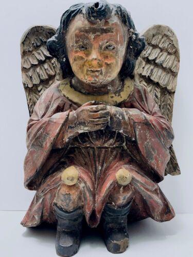 Carved Wood ANGEL Antique Polychrome Santos Glass Eyes Hand Carved Cherub