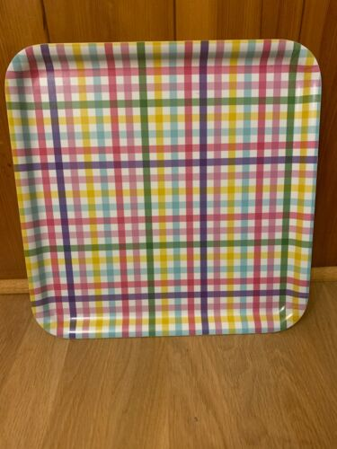 """IKEA Square Serving Tray Checkered Pastel Gingham Print 13"""" Melamine"""