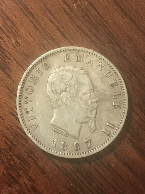 Italy KM#5a.1 1867 Lire World Silver Coin