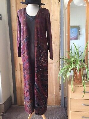 Vintage Silk Boho Chic Kimono Style Full Length Jacket