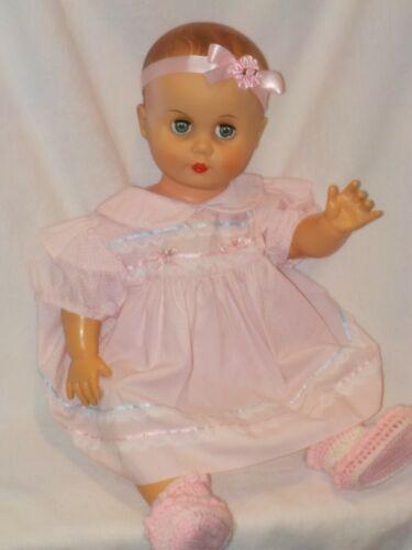 "Large 23"" Vintage Vinyl Molded Hair Baby Doll Dressed In Vintage Dress"