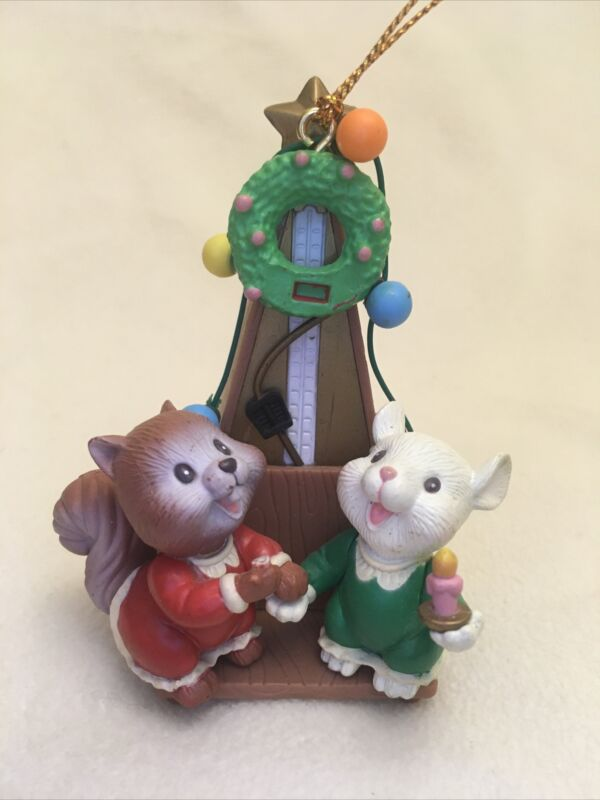 Vintage Lustre Fame Christmas Ornament Squirrel & Mouse Metronome 1997 Flawed