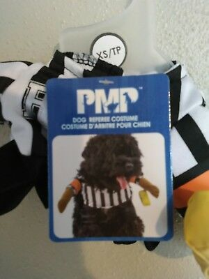 Dog Referee Costume (NEW Referee costume SZ XS 2 piece Halloween Football Dog/ Pet Costume Funny)