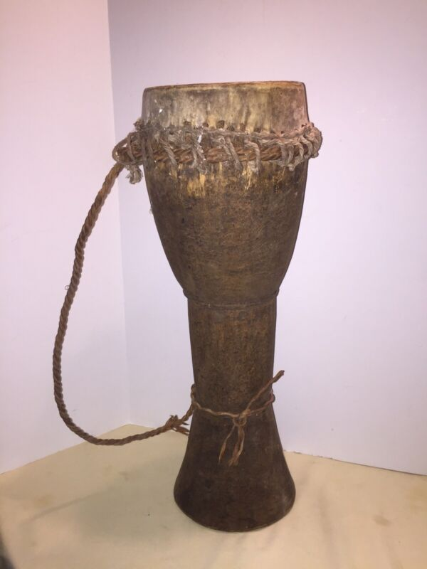 Vintage Antique Djembe Drum Hand Carved