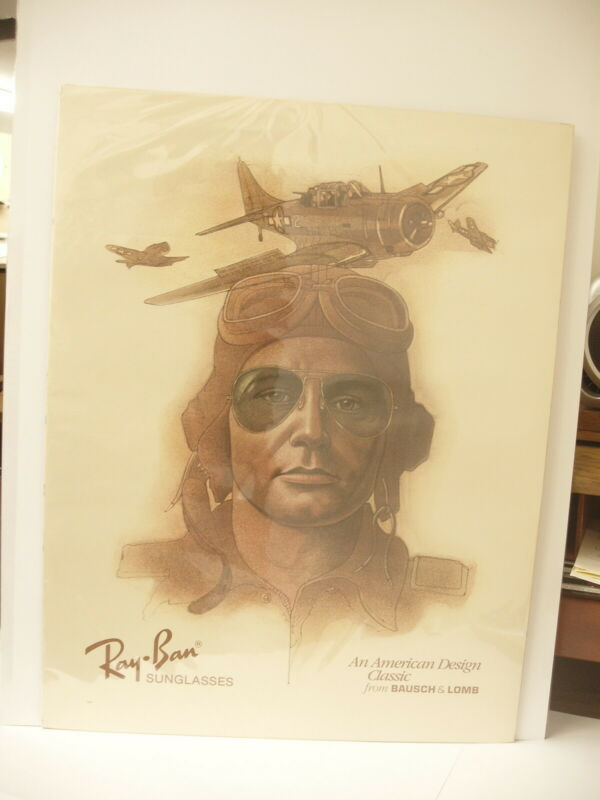 Vintage Ray-Ban Aviator Sunglasses Advertising Poster Aviator Bombers Pilot