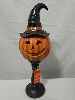 Halloween Light Up Jack O'Lantern with Witch Hat Candlestick Seasonal Home Decor