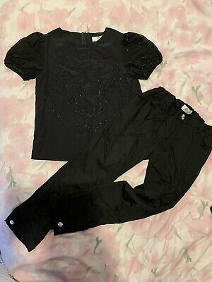 Young Versace Girls Black Two Piece Co-Ord Set Age 10-12