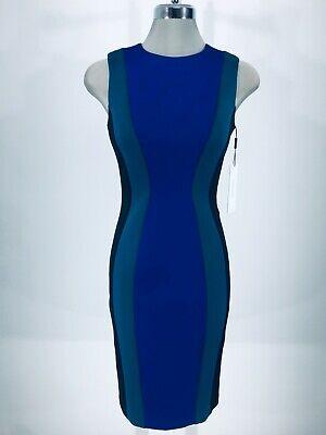 Calvin Klein NWT Exquisite Regatta Cyprus Black Side panel Color block Dress -