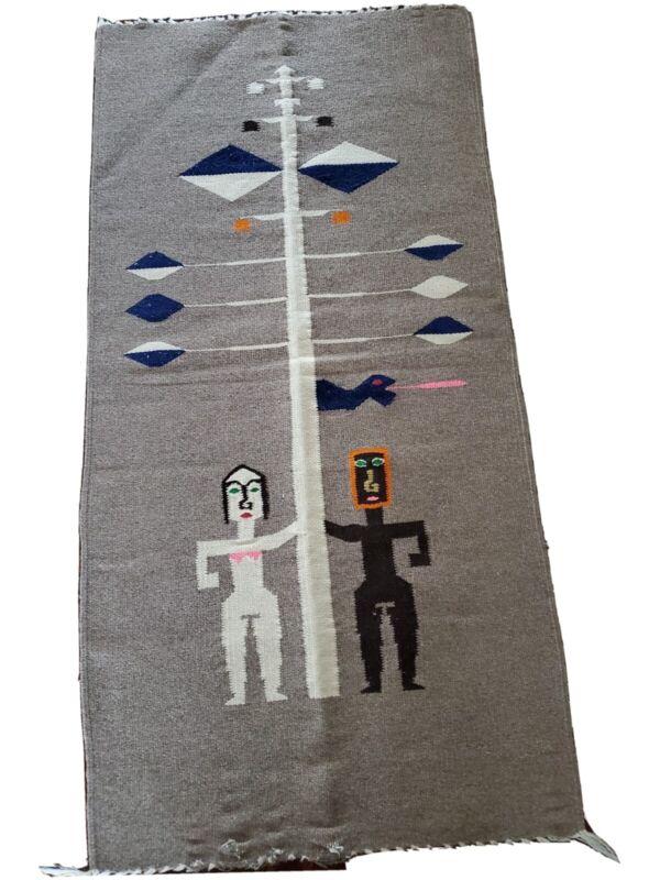 VTG Native Geometric Ethnic Tribal Wool Tapestry Weaving Original Sin Eve Adam