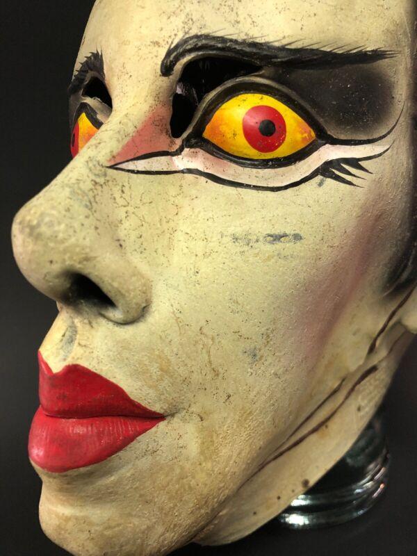 RARE Vintage BRIDE OF FRANKENSTEIN Halloween Mask Costume Paper Magic Group 1997