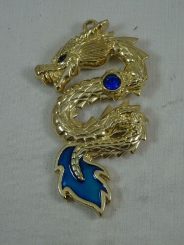 """Black Eyed Gold Serpent Sea Dragon Pendant Double Sided Blue Crystal 3.25"""""""