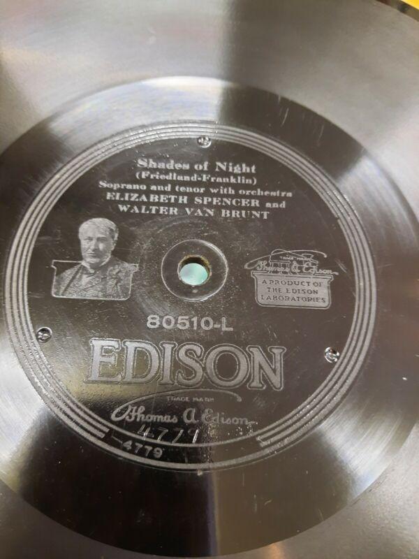 """ONE OLD ORIGINAL Antique Thomas Edison 1/4"""" Thick Diamond Disc Record w. Sleeve"""