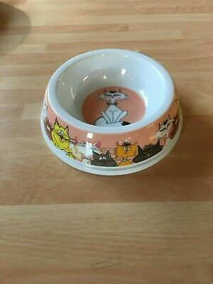 Ancol Plastic Pink Cat Design Cat Bowl