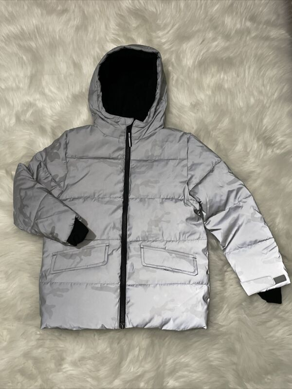 MEMBERS MARK COZY PUFFER SIZE 6 HOODED JACKET REFLECTIVE WIND RESISTANT NEW CAMO