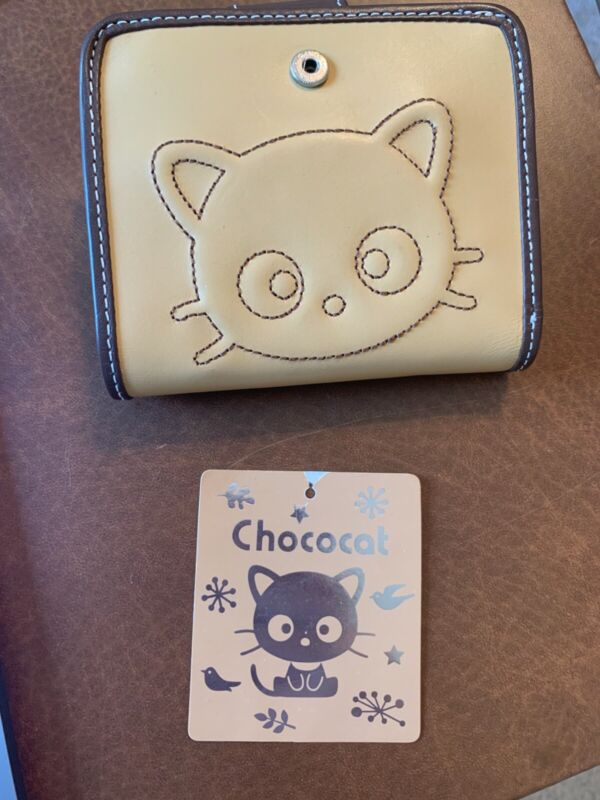 Sanrio Chococat Brown Leather Embroidered Fold Wallet With Tag