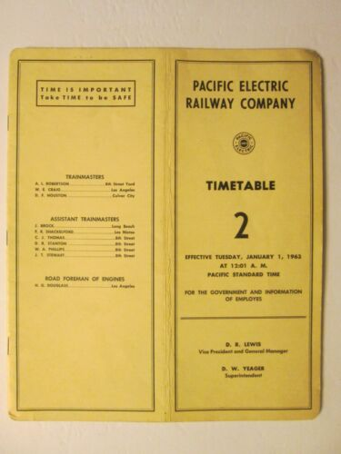 Pacific Electric Railway Time Table No. 2 Jan. 1, 1963