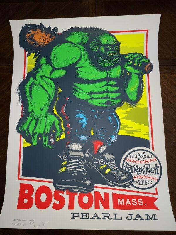 Pearl Jam Poster Fenway Park Aug 5 & 6 2016 Boston MA Ames Bros S/N